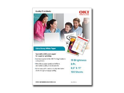 Oki 8.5 x 11 Ultra Glossy White Paper (100 sheets), 52208901, 7493080, Paper, Labels & Other Print Media