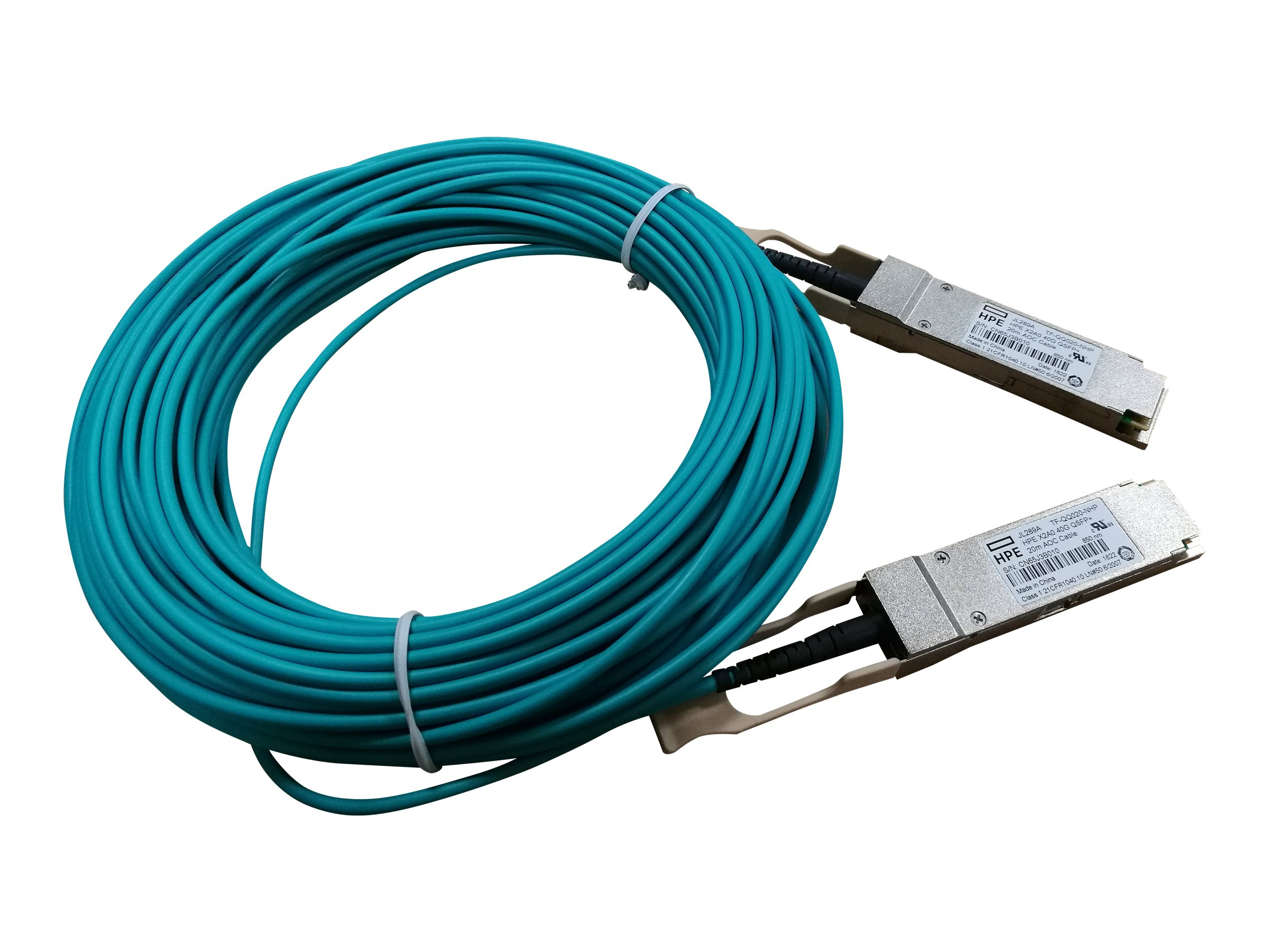 HPE 40G QSFP+ to QSFP+ Active Optical Cable, 20m