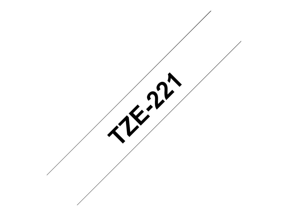 Brother 0.35 x 26.2' tze221 Black on White Tape, TZE-221