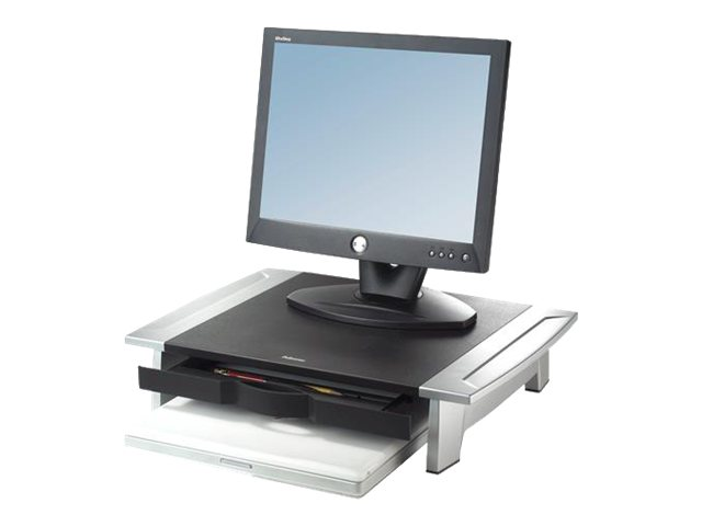 Fellowes Office Suites Monitor Riser Height Adjustable, Silver Black, 8031101, 5345008, Ergonomic Products