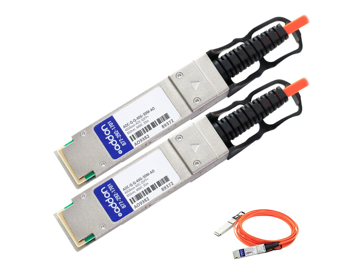 ACP-EP 40GBase-AOC QSFP+ to QSFP+ Direct Attach Cable, 30m, AOC-Q-Q-40G-30M-AO