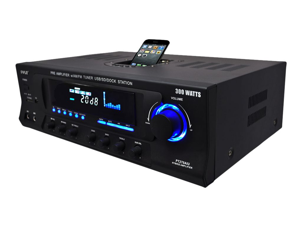 Pyle 300 Watt Stereo Receiver with Built-In iPod Docking Station, AM-FM Tuner, USB Flash & SD Card Reader, PT270AIU