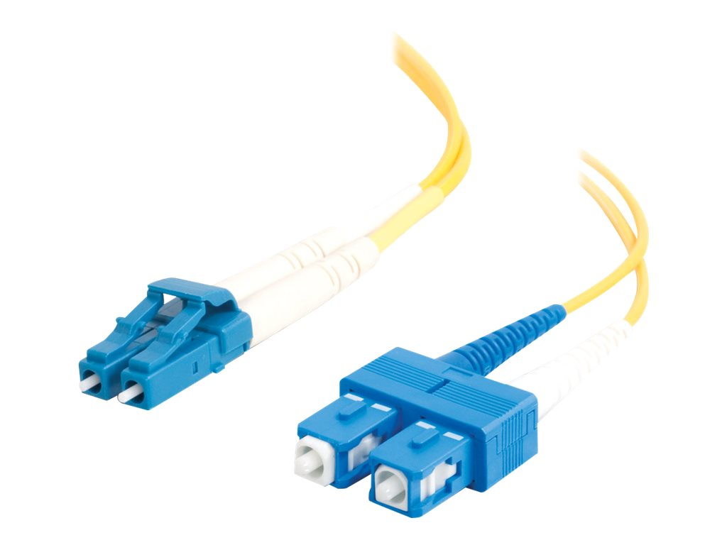 C2G Singlemode LC-SC 9 125 Duplex Fiber Patch Cable, Yellow, 1m, 29190, 6064515, Cables