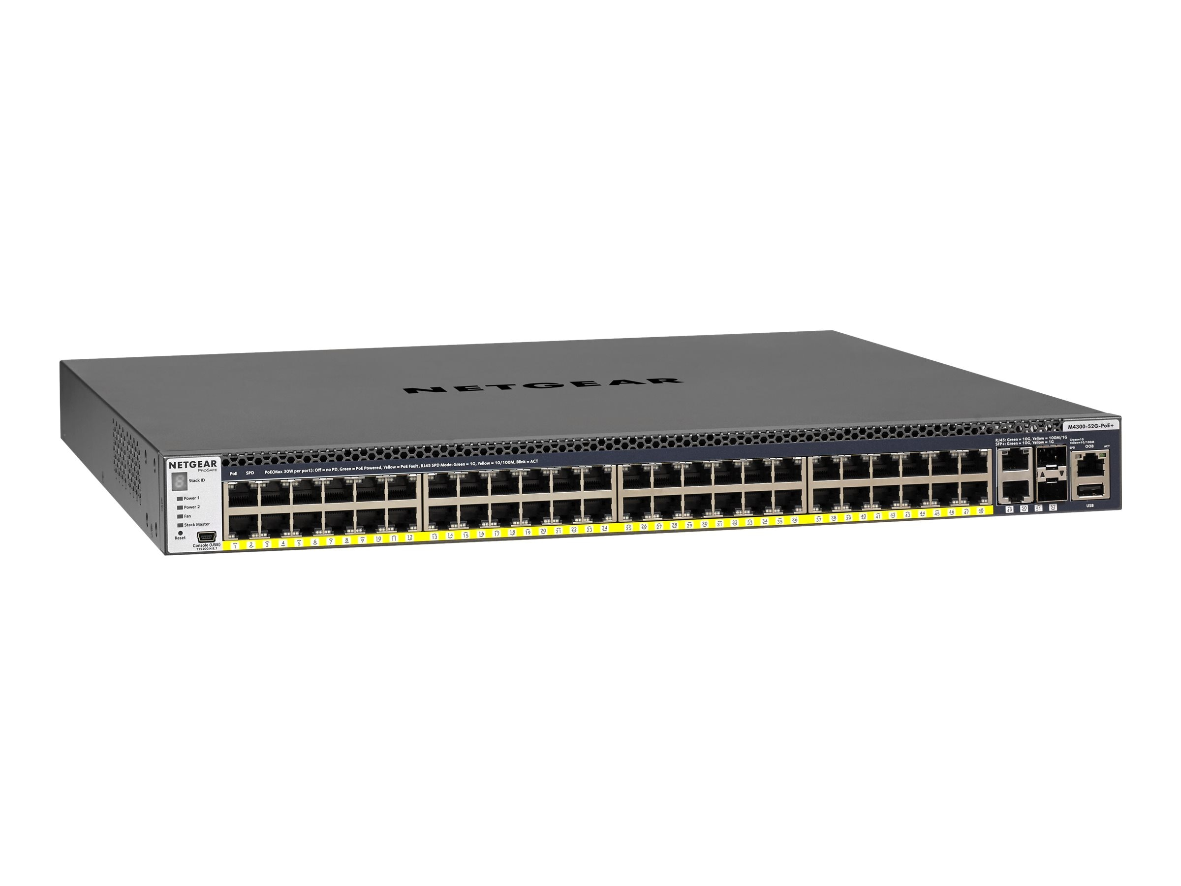 Netgear M4300-52G-PoE+ 48-Port 10Gb PoE+Managed Switch, GSM4352PB-100NES, 31435841, Network Switches