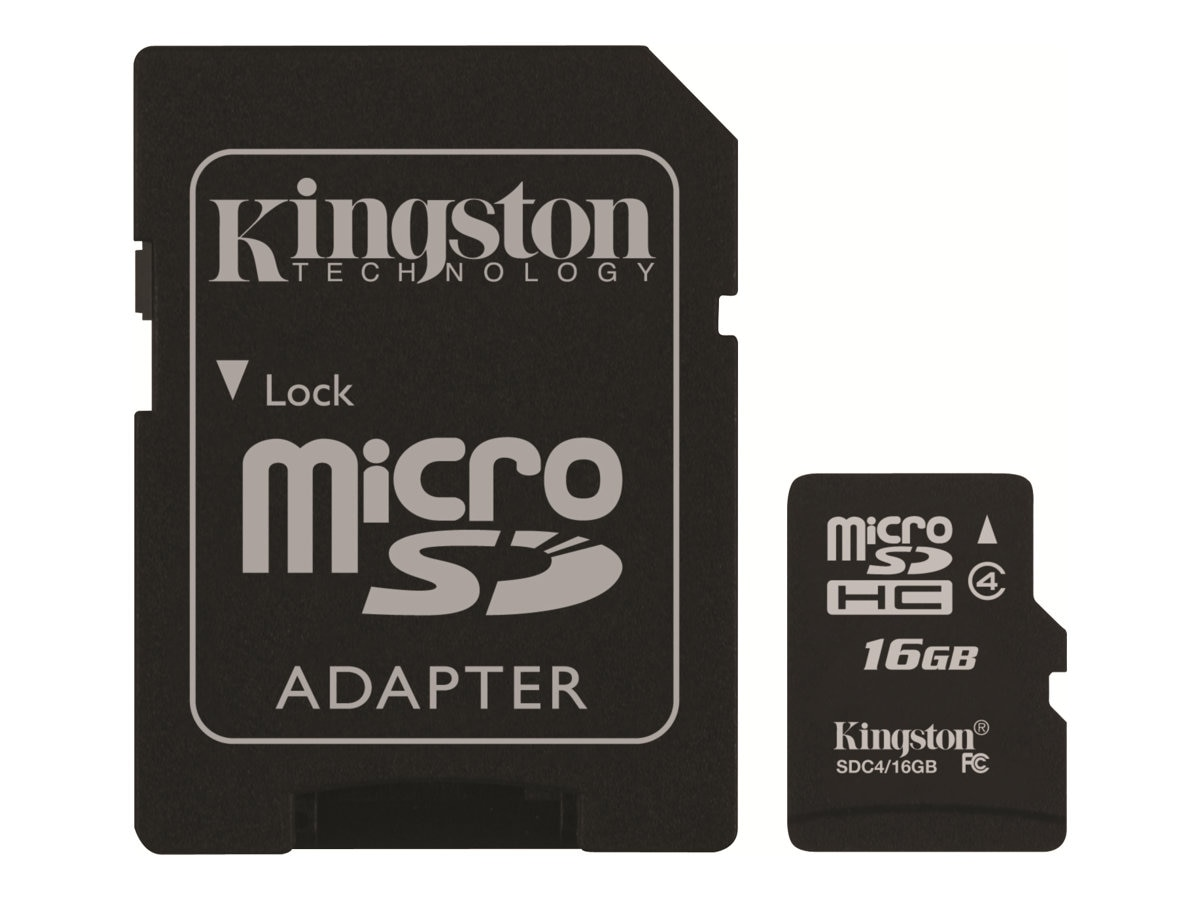 Kingston 16GB microSDHC Flash Memory Card with SD Adapter, Class 4