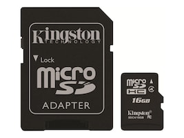 Kingston 16GB microSDHC Flash Memory Card with SD Adapter, Class 4, SDC4/16GB, 12234980, Memory - Flash