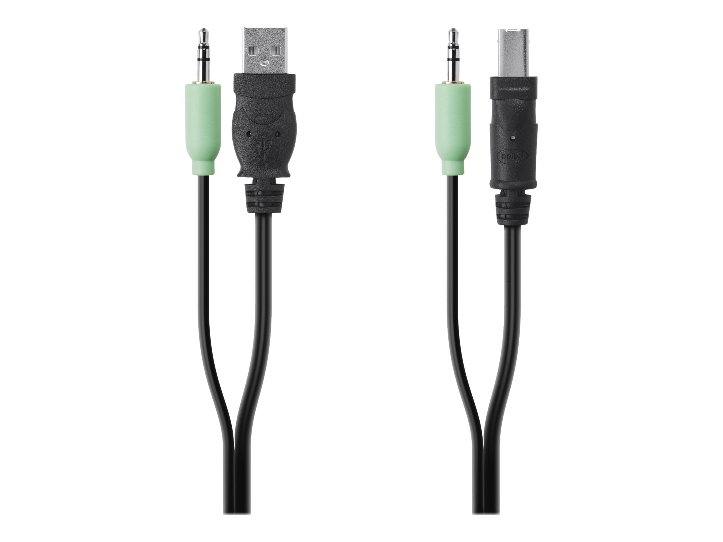 Belkin USB Audio SKVM Cable, USB Type A to USB Type B, 3.5mm Audio, 6ft, F1D9022B06, 15672504, Cables