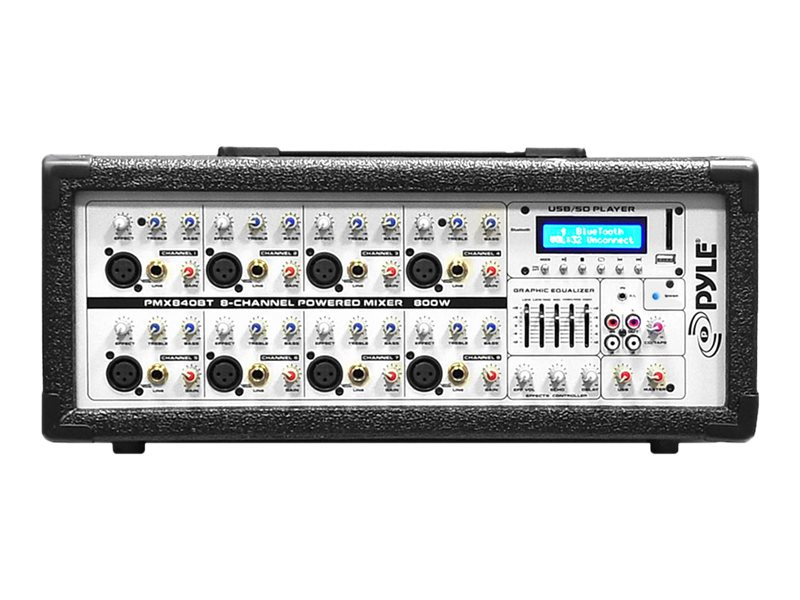 Pyle 8-Channel 800 Watt BT Mixer w  Mic, Line Inputs, USB & SD Card Readers, PMX840BT