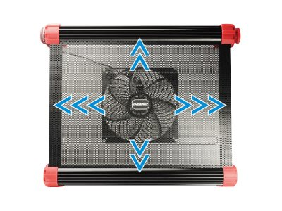 Enermax Aeolus Vegas Cooling Pad for up to 17 Notebook with 4-Color LED, Black, CP007