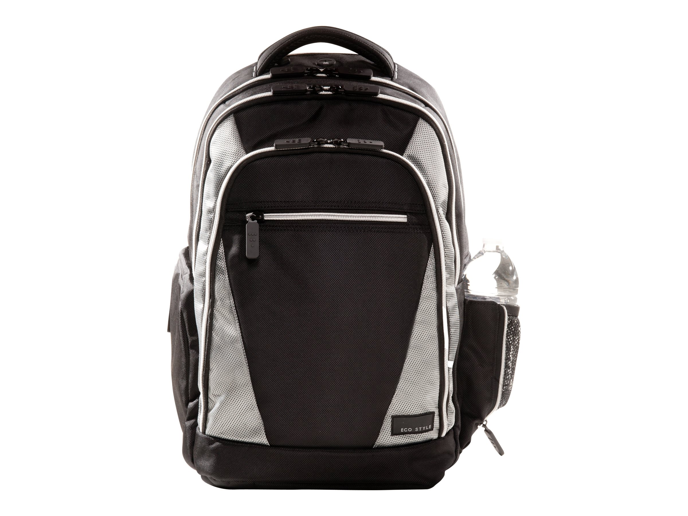 Eco Style Sports Voyage Backpack, Fits 16.4 Notebook, Black Silver