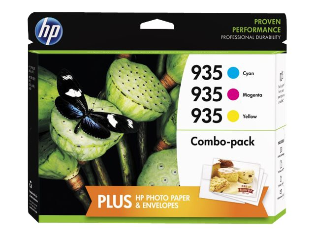 HP 935 (F6U03FN) Cyan Magenta Yellow Original Ink Cartridge Content Value Pack, F6U03FN#140, 17455175, Ink Cartridges & Ink Refill Kits
