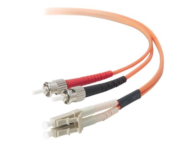 Belkin Fiber Optic Cable, LC-ST, 62.5 125, Duplex Multimode, 3m, F2F202L0-03M