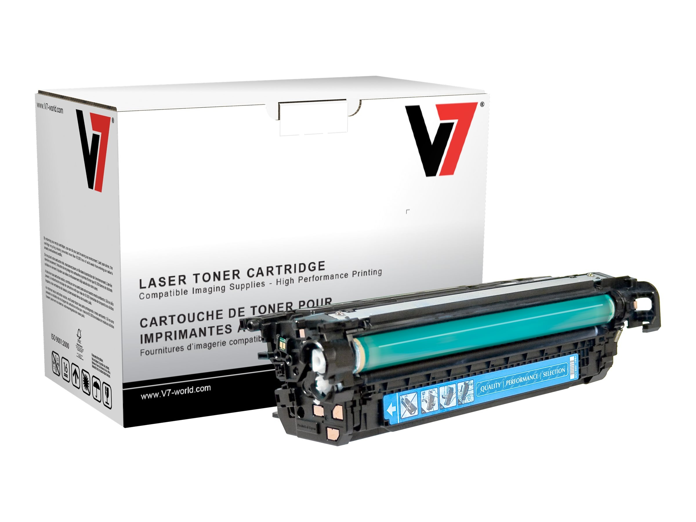 V7 CE261A Cyan Toner Cartridge for HP LaserJet CP4025 4525 (TAA Compliant)