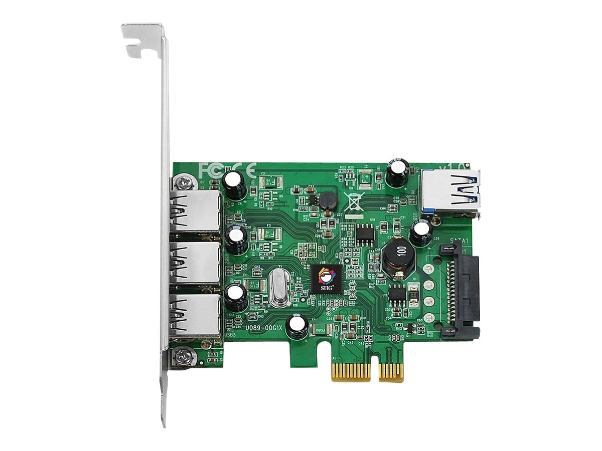 Siig DP USB 3.0 4Pt. PCIe I E Dual Profile Adapter, JU-P40212-S1, 13267142, Network Adapters & NICs