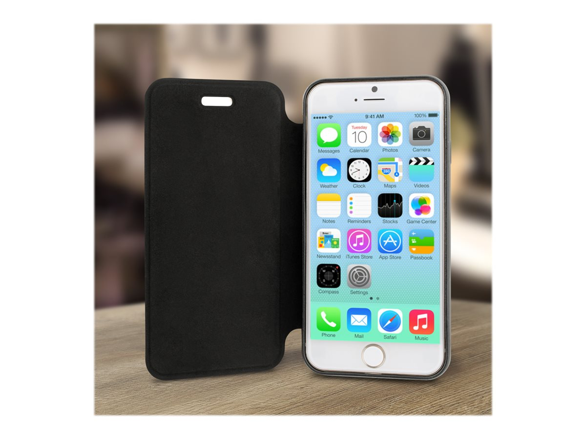 V7 Folio Flip Case Antislip Back Bumper Protection for iPhone 6 4.7, PA20FO-BLK-47-14N, 17849060, Carrying Cases - Phones/PDAs