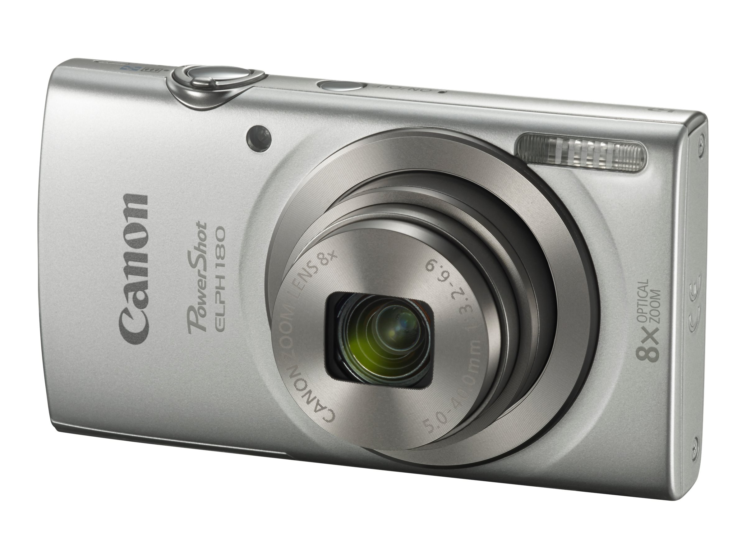 Canon PowerShot ELPH 180 Camera, 20MP, 8x Zoom, Silver, 1093C001