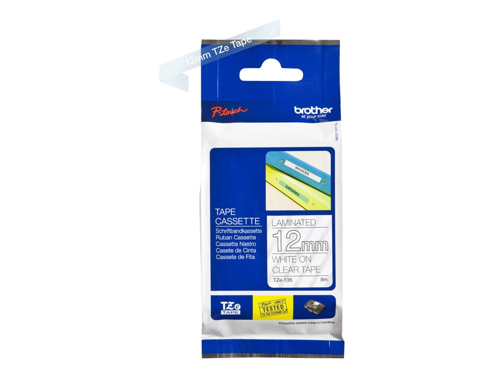 Brother 0.47 x 26.2' TZe135 White on Clear Tape for P-Touch 8m
