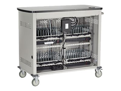 Black Box Double Frame Universal Computing Cart, 20 Small Device Configuration, Hinged Door, UCCDS20H, 16004461, Computer Carts