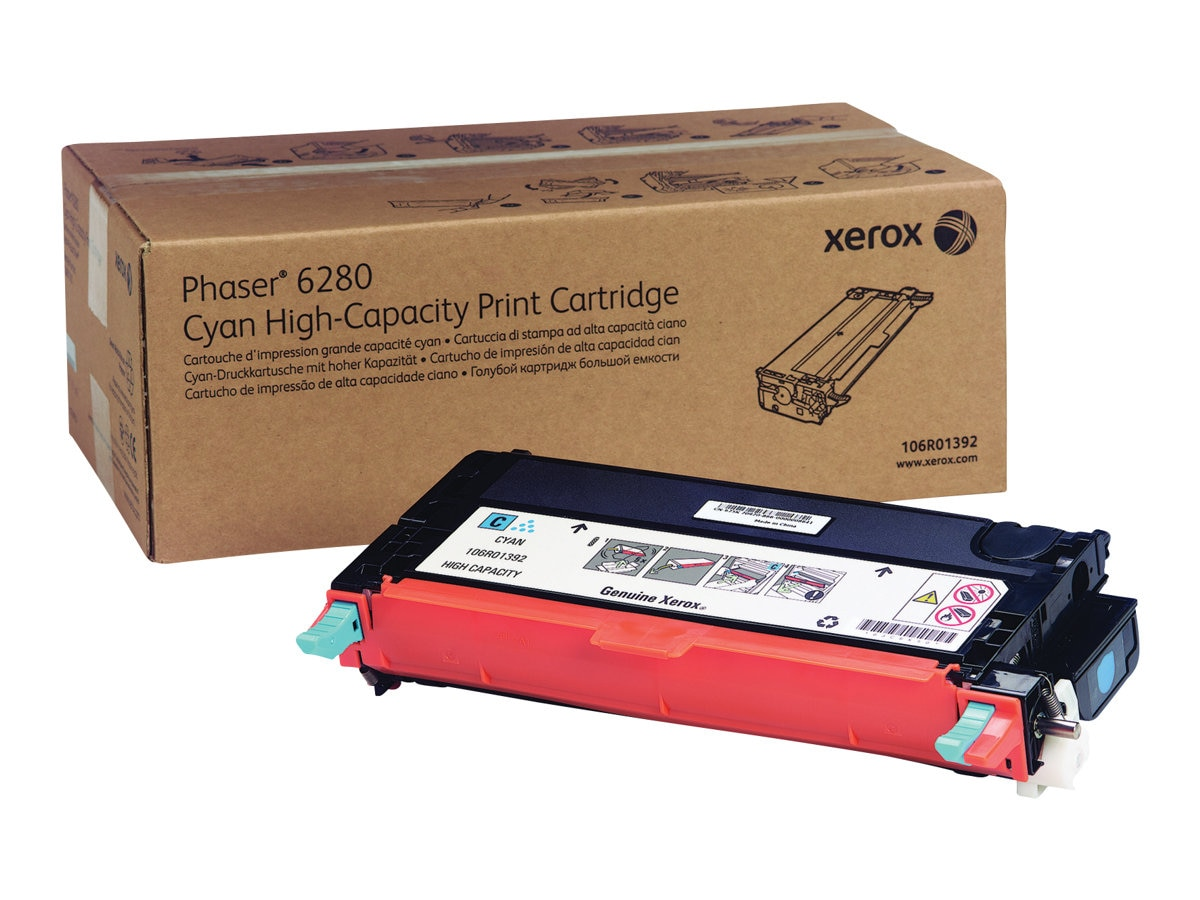 Xerox Cyan High Capacity Print Cartridge for Phaser 6280, 106R01392, 9409742, Toner and Imaging Components