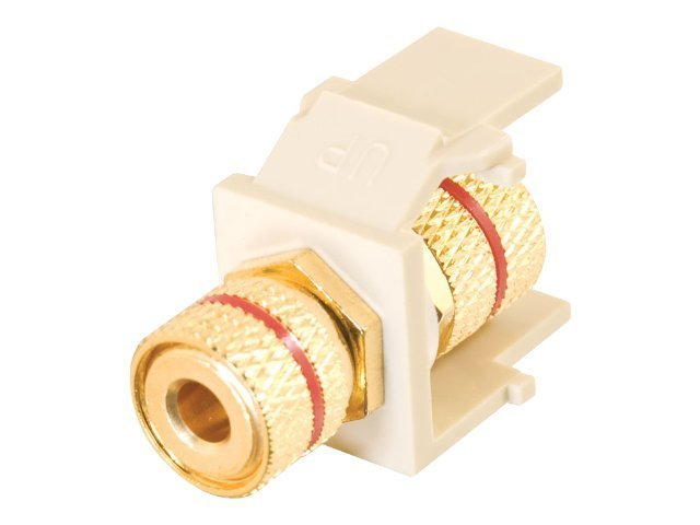 C2G Snap-In Red Banana Jack Keystone Module, White, 28741, 8067461, Premise Wiring Equipment