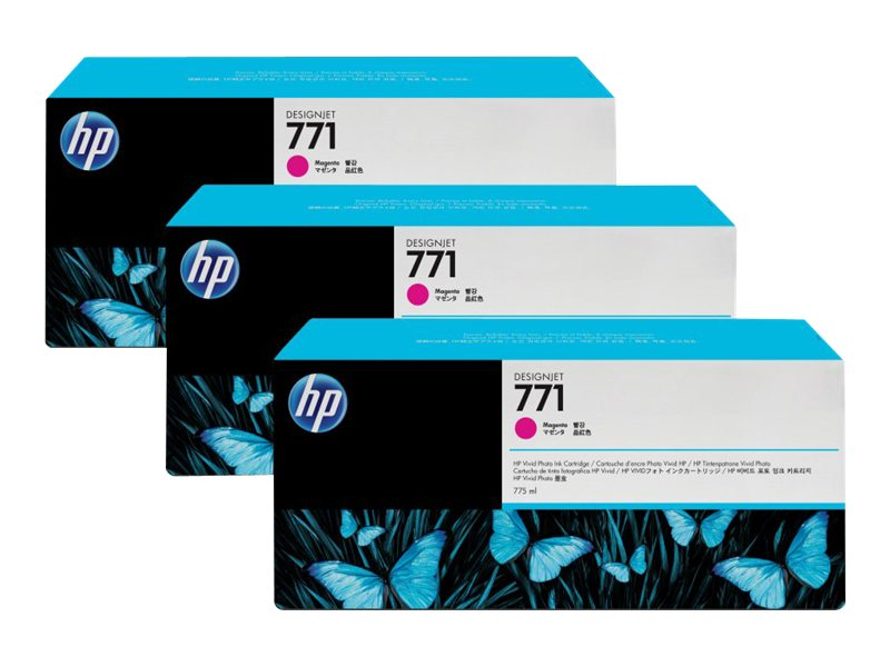 HP 771 775-ml Magenta Designjet Ink Cartridges (3-pack), CR252A, 12163771, Ink Cartridges & Ink Refill Kits
