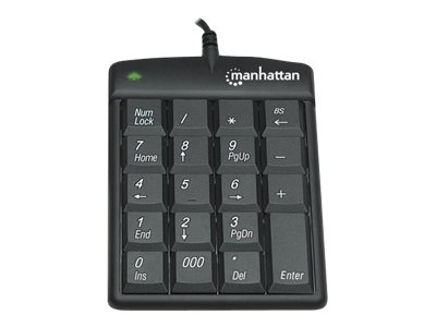 Manhattan 19-Key USB Numeric Keypad Win 2000 XP Vista 7,  Black, 176354