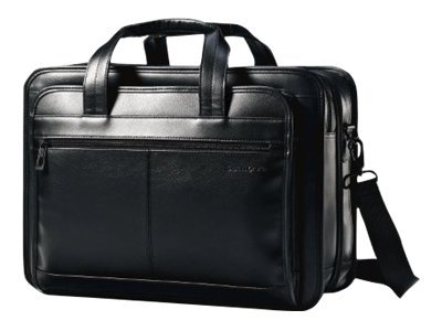 Stephen Gould Samsonite Leather Expandible Business Case, Fits 15.6 Screen Laptop, Organized Front Pocket, Black