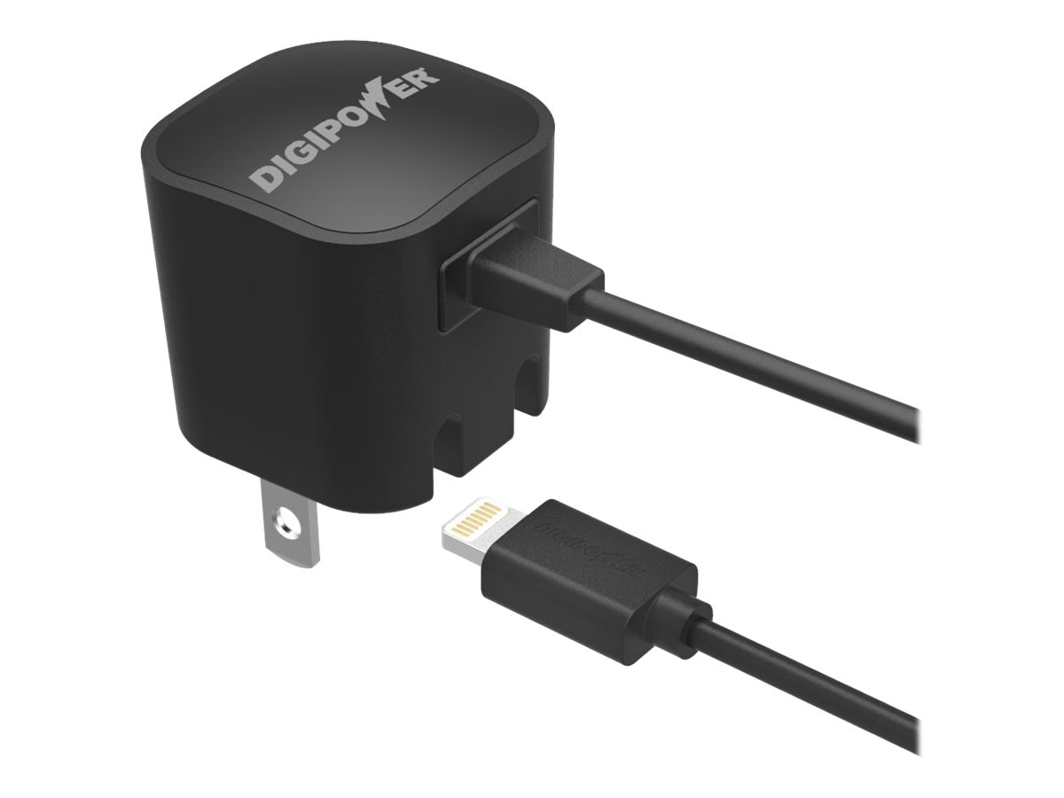DigiPower Wall Charger, 1A w  Tethered Lightning Connector, IP-AC1L-T