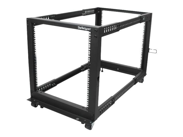 StarTech.com Adjustable Depth 12U Open Frame 4-Post Server Rack w  Casters, Levelers, Cable Management Hooks