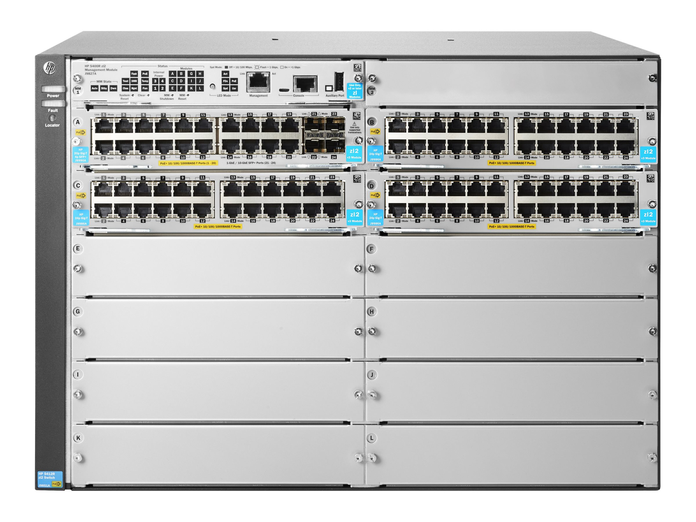 HPE 5412R 92xGT POE+ 4xSFP+ V3 ZL2 Switch, JL001A, 20020367, Network Switches
