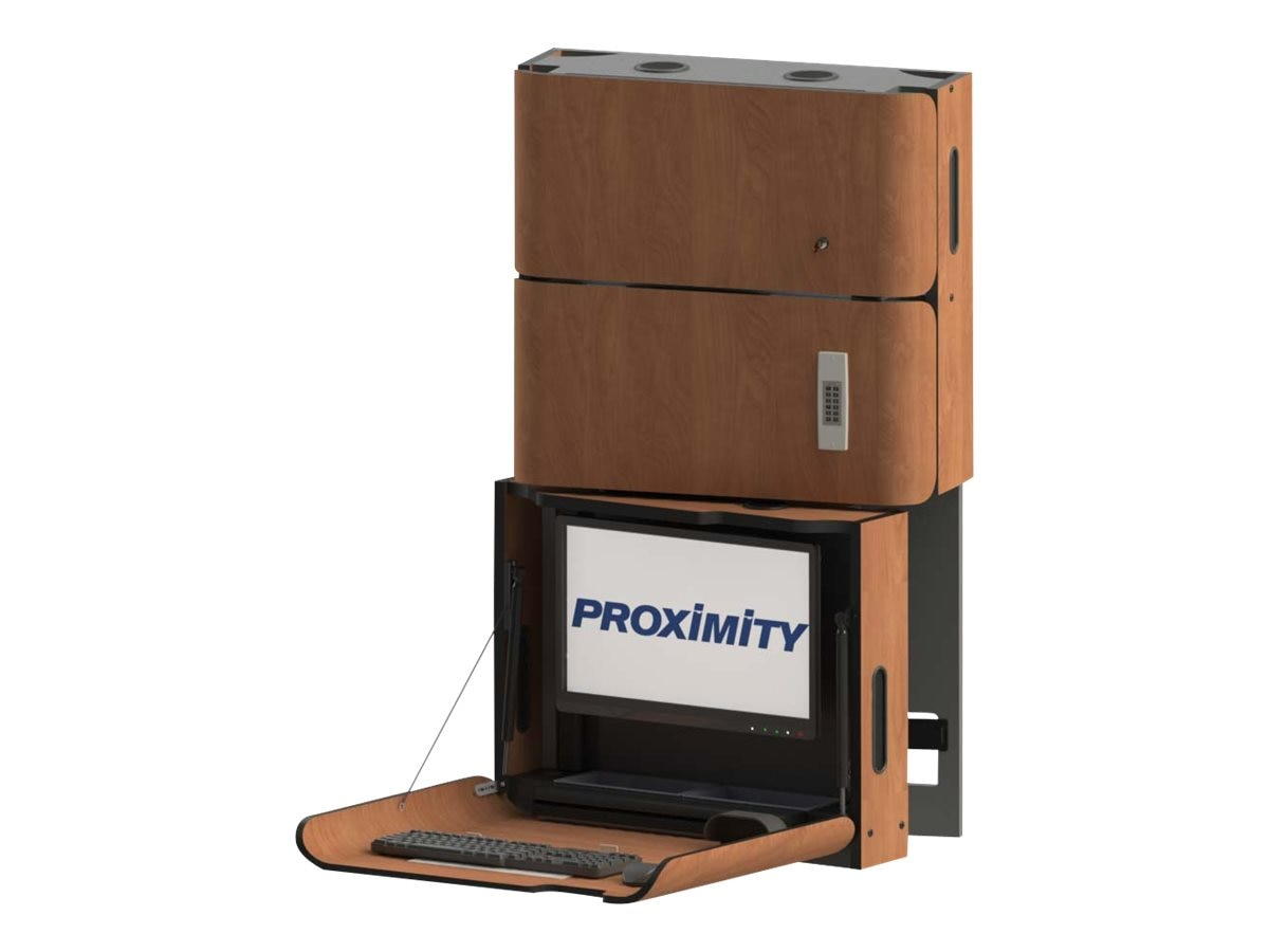 Proximity Classic Series Wall-Mounted Workstation with Left Swivel, Tilt, Med Storage, Wild Cherry
