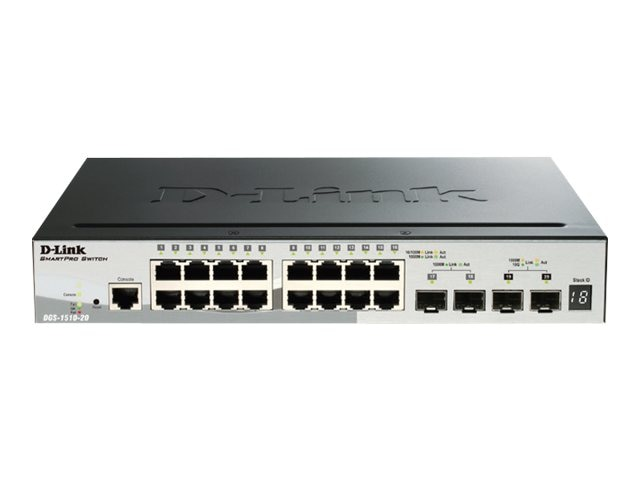 D-Link SmartPro 16-Port Gigabit Switch w 2 SFP And 2 10GBE SFP+, DGS-1510-20