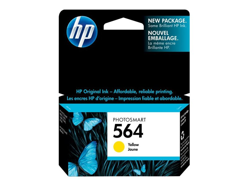 HP 564 (CB320WN) Yellow Original Ink Cartridge for HP PhotoSmart D5400 Printers, CB320WN#140, 8608281, Ink Cartridges & Ink Refill Kits