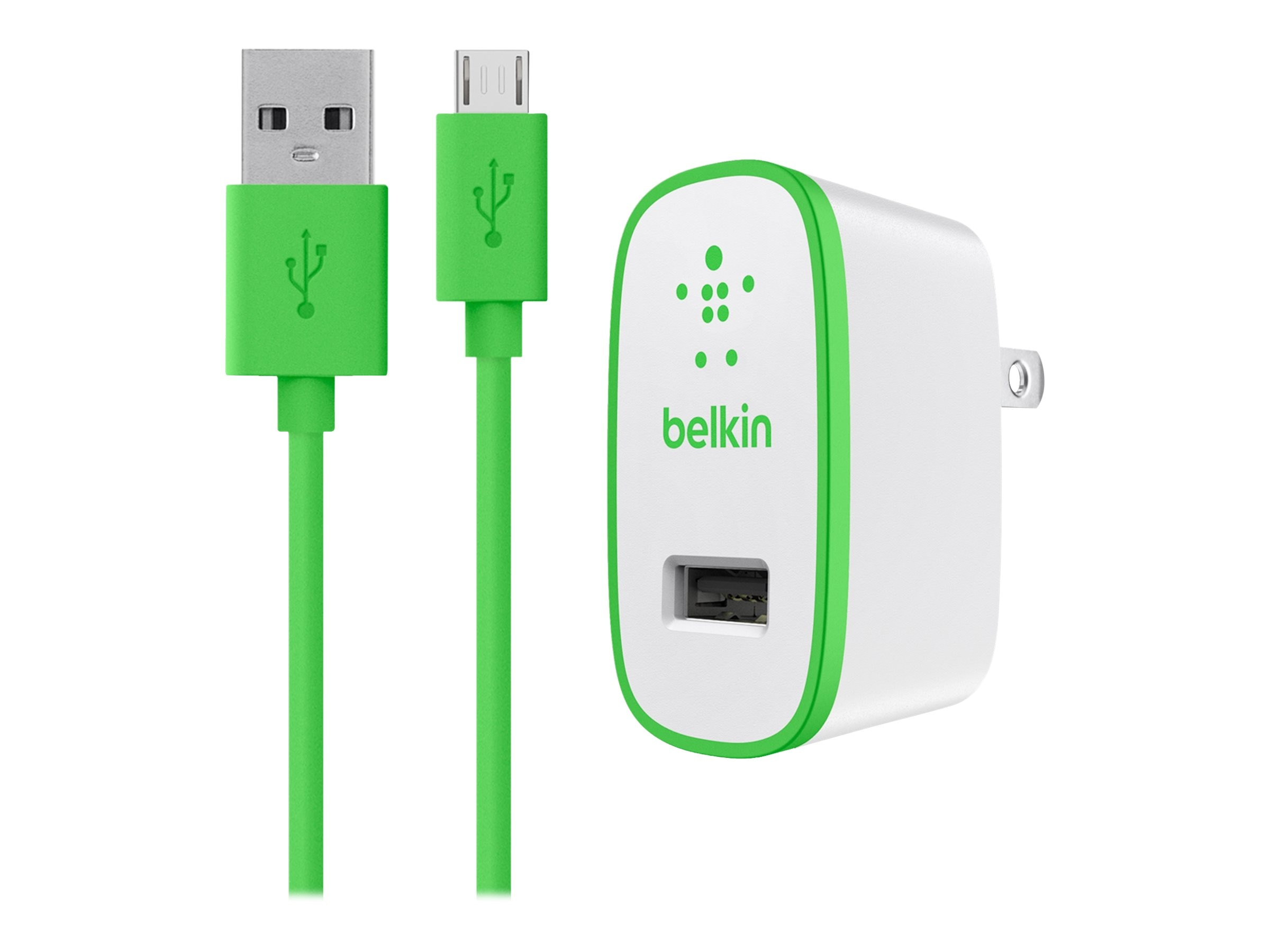Belkin Universal Home Charger, Micro-USB Charge Sync Cable, 10W 2.1A, Green, F8M667TT04-GRN