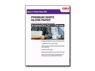 Oki 8.5 x 11 OKI Gloss Paper (200-Sheets), 52208203, 6812587, Paper, Labels & Other Print Media