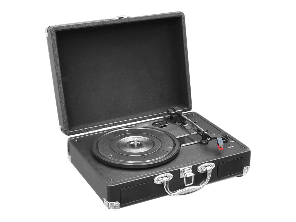 Pyle Retro Belt-Drive Turntable with USB-to-PC Connection, Rechargeable Battery - Black, PVTT2UBK, 16549524, Music Hardware