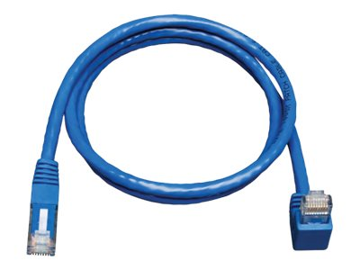 Tripp Lite Cat6 Patch Cable, Right Angle Down to Straight, Blue, 3ft, N204-003-BL-DN