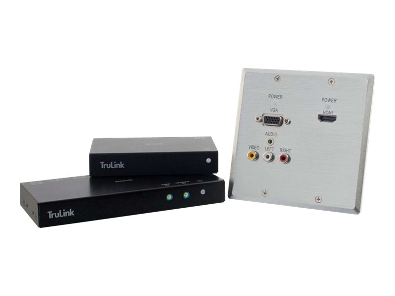 C2G HDMI VGA Stereo Audio Composite  Audio over Cat5 Extender Wall Plate Transmitter to Box Receivers, 29215, 18035949, Video Extenders & Splitters