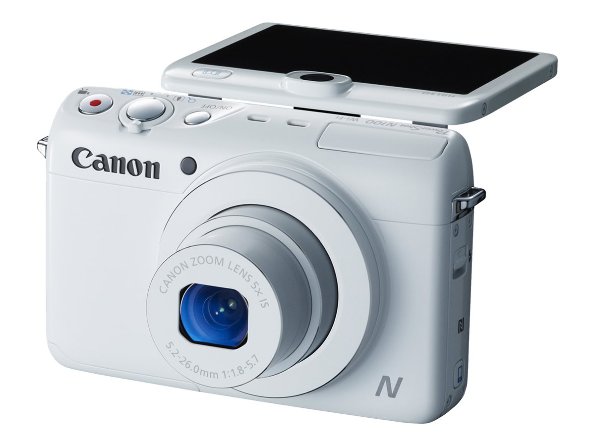 Canon PowerShot N100 Digital Camera, White, 9169B001, 16683651, Cameras - Digital - Point & Shoot