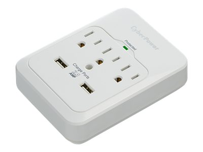 CyberPower Professional Series Home Office Surge Protector 600 Joules (3) Outlets (2) USB 2.1A Ports Wallmount, CSP300WUR1