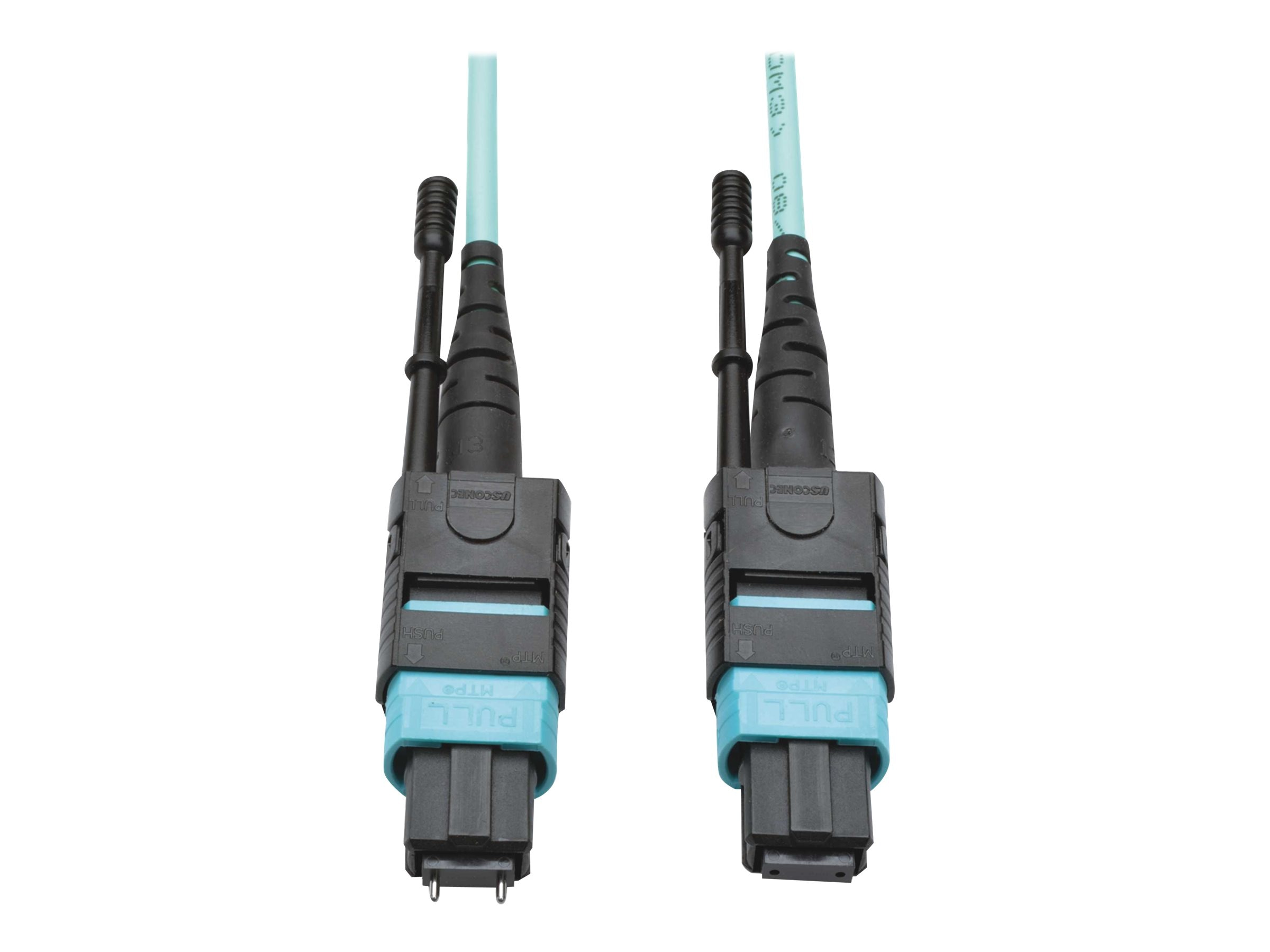Tripp Lite MTP MPO M F 50 125 OM3 Multimode Patch Cable, Aqua, 5m, N842-05M-12-MF, 30785187, Cables