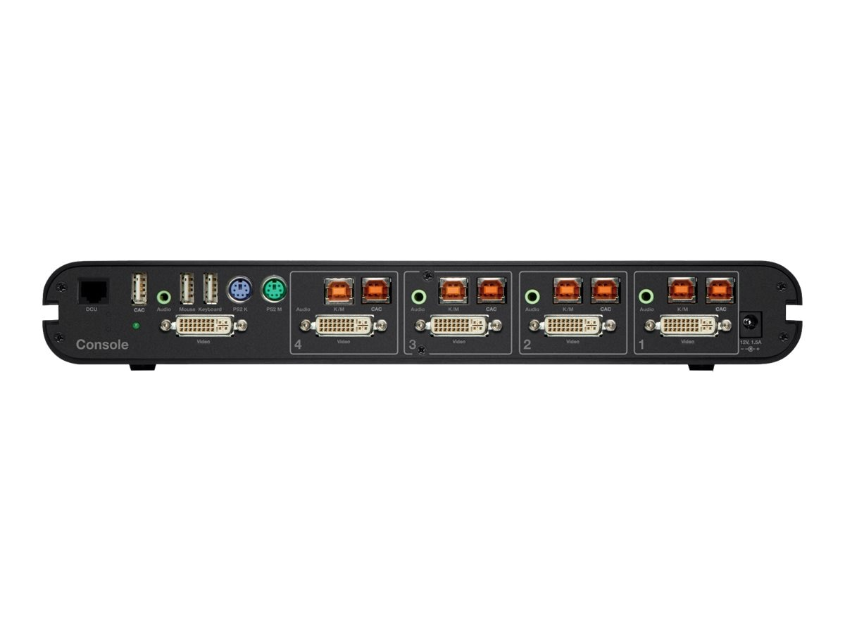 Belkin Advanced Secure DVI-I KVM Switch with DCU, 4-Port Plus, F1DN104G