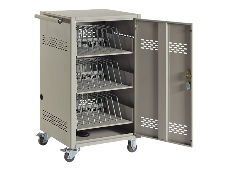 Black Box 30-Device Charging Cart with Steel Top, 3 PDU, Timer