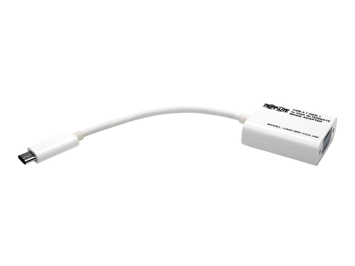 Tripp Lite USB 3.1 Gen 1 Type C to HDDB15 VGA M F Adapter, White, U444-06N-VGA-AM