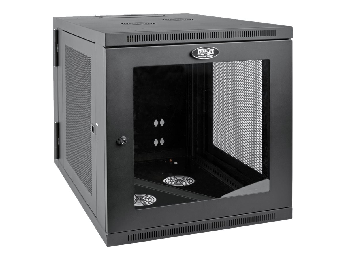 Tripp Lite SmartRack 12U Server-Depth Wall-Mount Rack Enclosure Cabinet w  Clear Acrylic Window, Hinged Back
