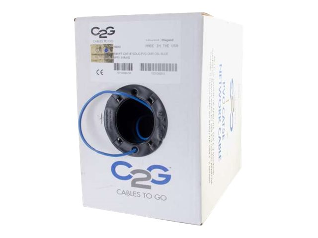 C2G Cat5e Bulk Unshielded UTP Network Cable with Solid Conductors, Blue, 1000ft