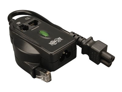 Tripp Lite Traveler In-Line Surge Suppressor, 120 240V 306 Joule C6 Connectors with Phone Line Protection