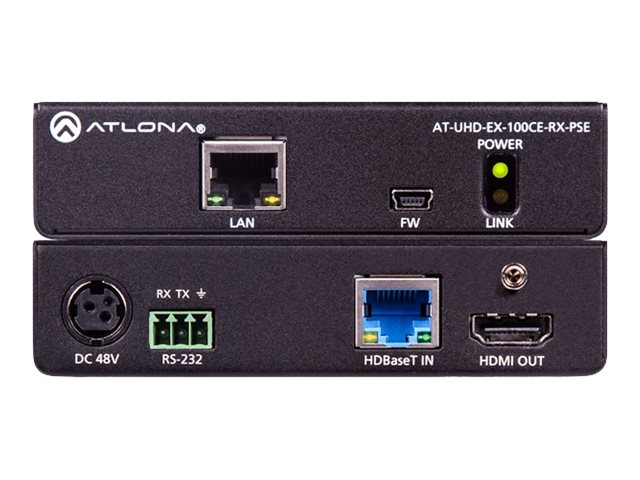 Atlona 4K UHD HDBaseT Receiver with Ethernet, Control and PoE
