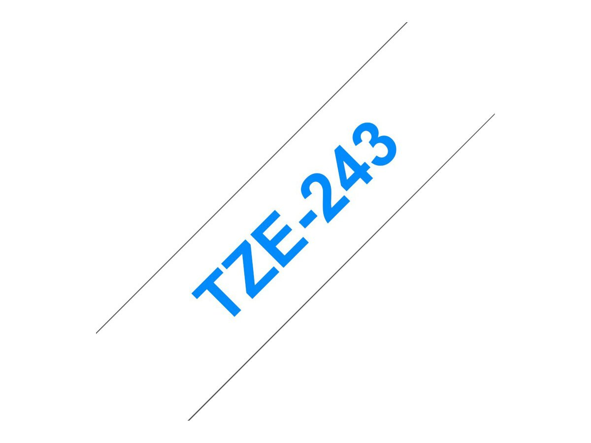 Brother 0.7 x 26.2' TZe244 Blue on White Tape for P-Touch 8m, TZE-243