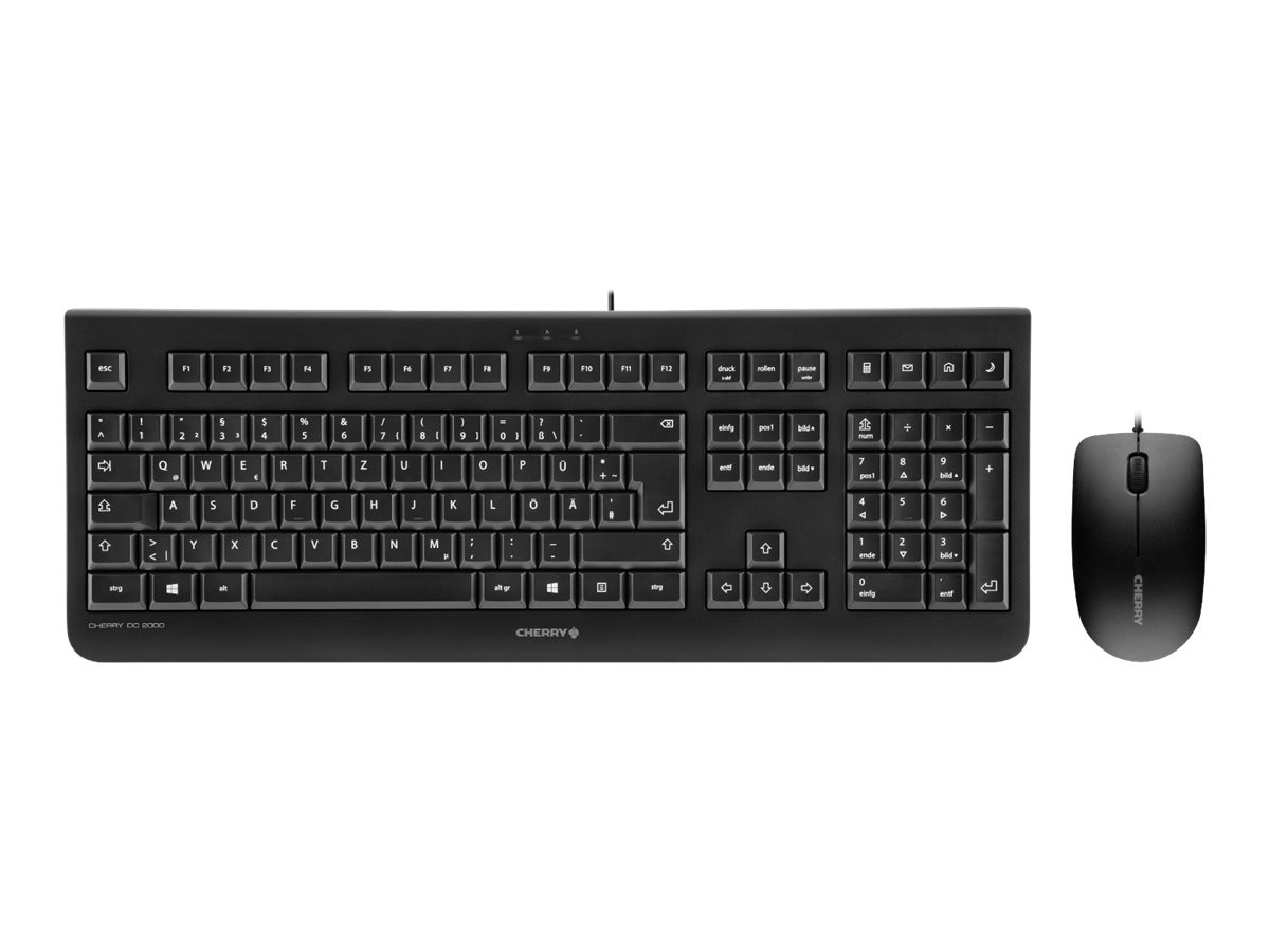 Cherry DC2000 USB Keyboard Mouse Combo 104+4 Key 3-Button Symmetrical Mouse, Black, JD-0800EU-2